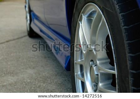 The close up shot of car wheel - stock photo