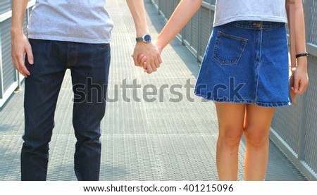 The close up shot of couple hand holding together concept of love, care, encourage and relationship - stock photo