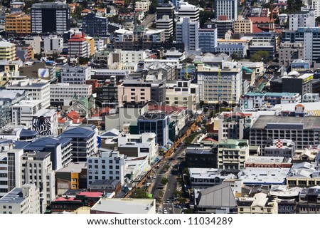 The close-up view of Wellington City, New Zealand