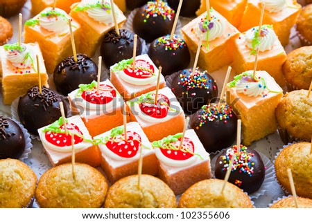 The closeup image of various yummy cakes - stock photo
