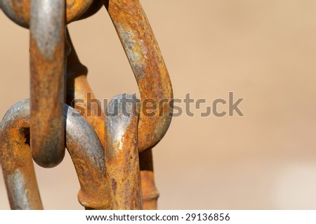 The closeup of the old chain links - stock photo