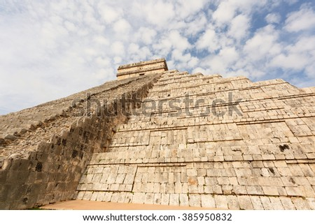 The Closeup of the Stairs of A massive step pyramid known as El Castillo at Chichen Itza, Mexico - stock photo