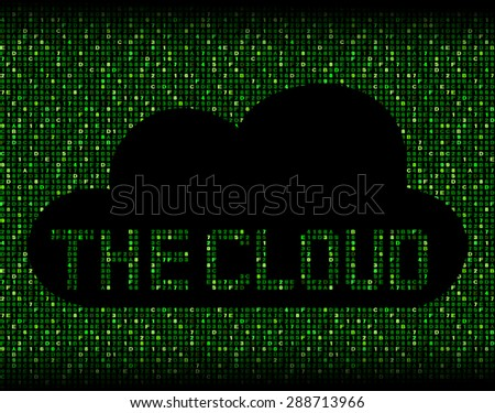 The Cloud silhouette on hex code illustration - stock photo