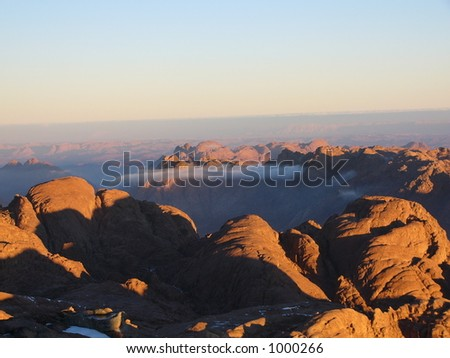 The clouds in mount circle. Egypt. - stock photo