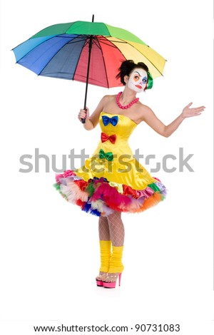 The clown with an umbrella flies