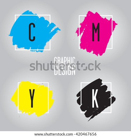 The CMYK color model refers to the four inks used in some color printing: cyan, magenta, yellow, and key (black). This color model is often used in graphic design. - stock photo