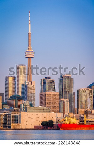 The CN Tower, the icon of Toronto, at sunrise - stock photo