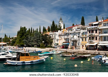 the coast in city Selce - Croatia - stock photo