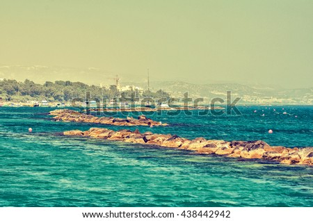 The coast line of Limassol, Cyprus on a sunny day. Vintage concept