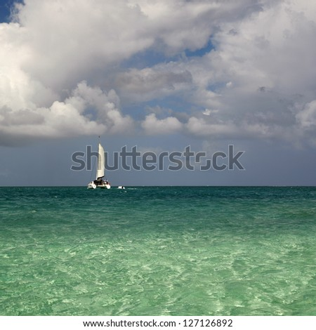 The coast of a sandy beach in tropics. Clear warm sea water. Sunny day with picturesque clouds.
