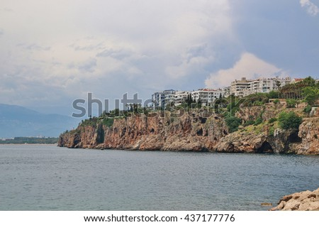 the coast of Antalia with houses, Turkey