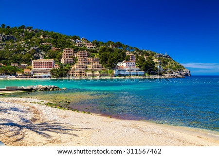 the coast of beautiful village Port de Soller, Mallorca, Spain - stock photo