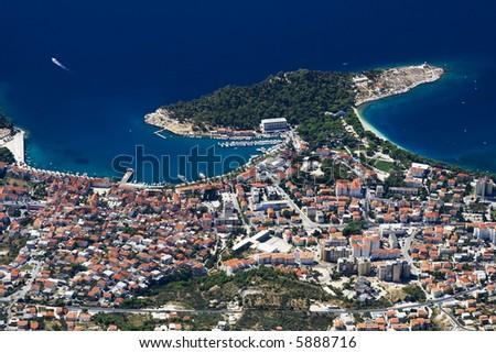The coast of city Makarska - Croatia - stock photo