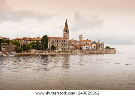 the coast of city Porec - Istria - Croatia - stock photo