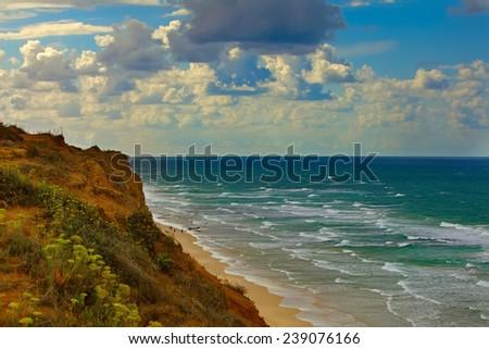 The coast of Mediterranean sea  - stock photo