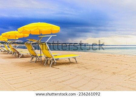 The coastline in the city of Cannes, the beach. - stock photo