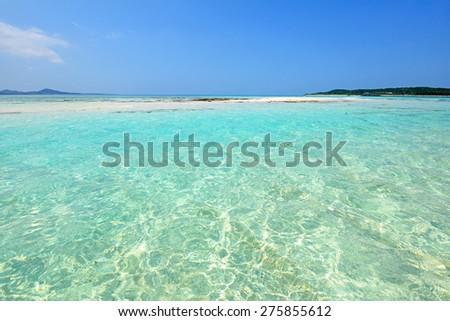 The cobalt blue sea and blue sky  - stock photo