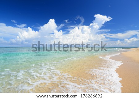 The cobalt blue sea and blue sky of Okinawa. - stock photo