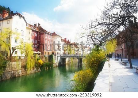 The Cobblers' Bridge, beautiful old city Ljubljana, the capitol of Slovenia, Europe - stock photo