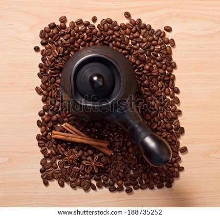 the coffee and star anise and cinnamon, top view - stock photo