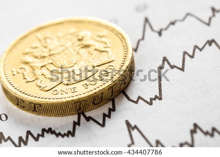 The coin one pound on graphics background. Rate of the pound sterling - stock photo