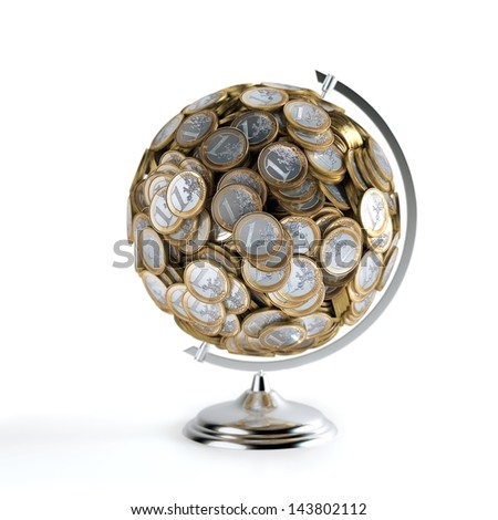 The Coins Globe (Money Conceptual Picture)  Isolated On white - stock photo
