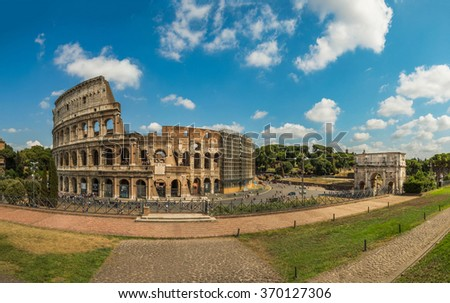 The Coliseum and The Arch of Constantine in Rome, Italy.