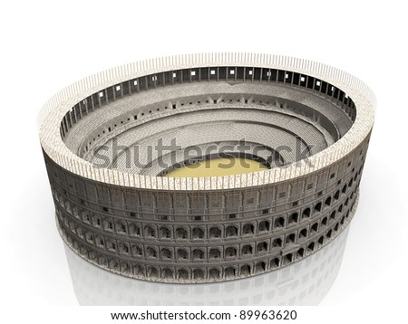 the coliseum on a white background - stock photo