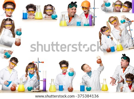 The collage from images of boys and girls as chemist doing experiment  - stock photo