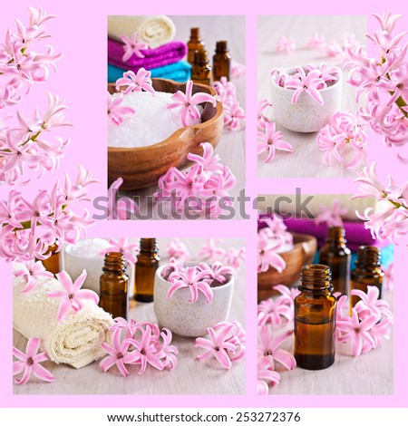 The collage on the theme of the Spa on a pink background with flowers hyacinth - stock photo