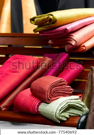 The collection of beautiful Thai silk cloths