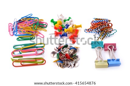 The collection of pins and paper clips isolated on white background . - stock photo