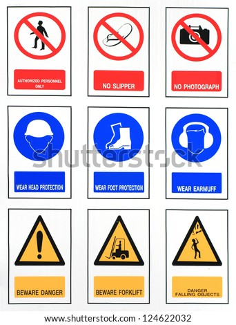 The collection of work, safety, harmful, Industry signs - stock photo