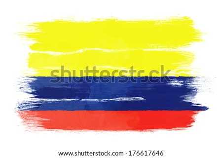 The Colombian flag painted on white paper with watercolor