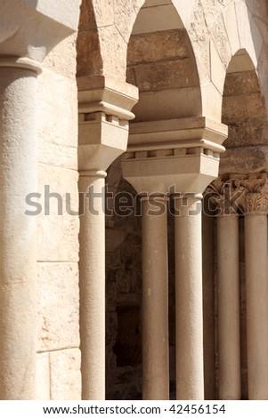 The colonnade of the Church of Nativity, Bethlehem - stock photo