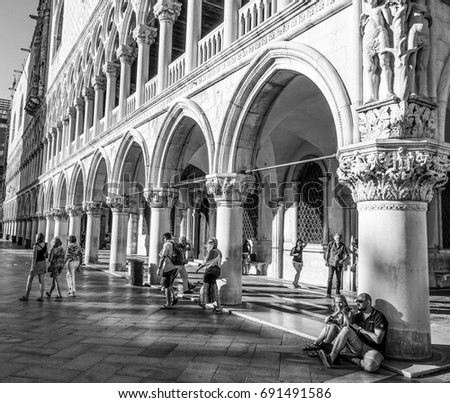 The Colonnades of Doge s Palace - Palazzo Ducale - VENICE, ITALY - JUNE 30, 2016