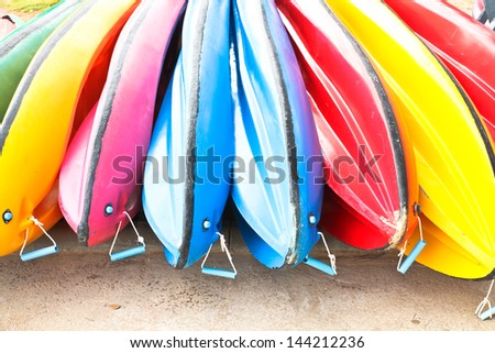 The color  boats on beach in summer - stock photo