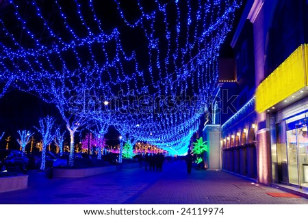 the color night at christmas in beijing - stock photo