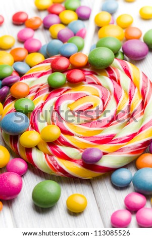the colored candy and lollipop - stock photo