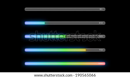 the colorful bar line representing the process of loading
