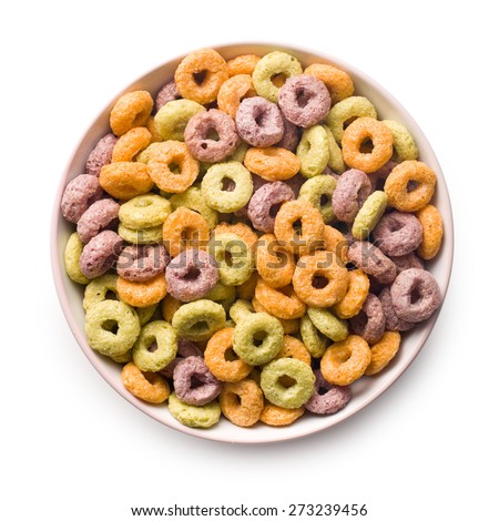 the colorful cereal rings in bowl - stock photo