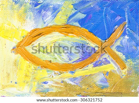 The colorful christian fish, christian symbol, oil painting on canvas - stock photo