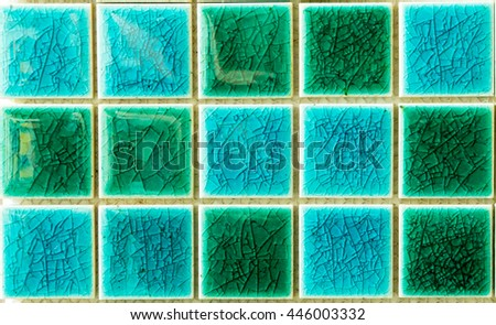 The colorful clay ceramic tiles with glazed surface (coating) Green and light blue, products of the northern Thailand  - stock photo
