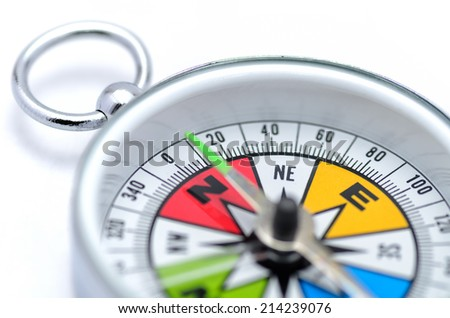 The Colorful Compass isolated on white background.