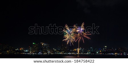 The colorful firework at Pattaya city during international fireworks festival, Chonburi, Thailand - stock photo