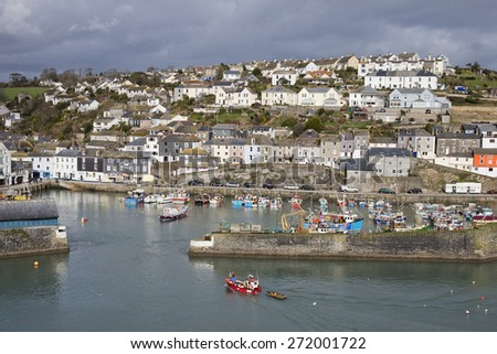 The colorful houses of Mevagissey, town and harbour, Cornwall, England, UK.