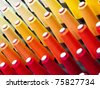 The colorful of the cone threads from textile factory - stock photo
