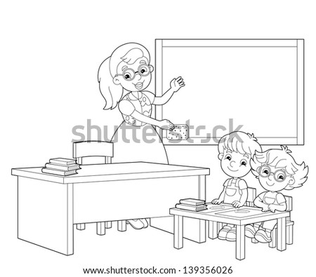 Classroom Teacher Pupils Black White Illustration Stock Illustration 76231963