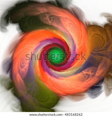 The colors in the series,  Abstract design made of Fractal three dimensional spiral texture on the subject of science, mathematics and forces of nature