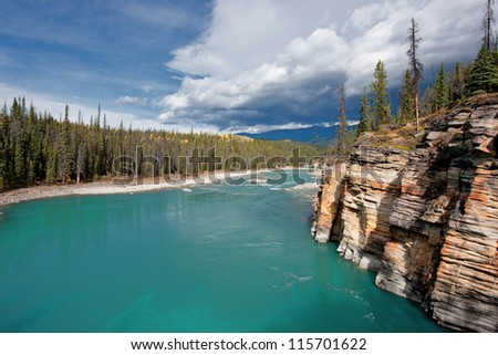 The Colors of Autumn in the Canadian Rockies, Alberta, Canada - stock photo